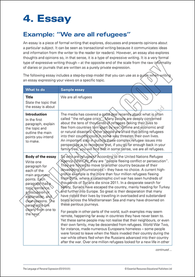 Essay exemplar, comprehension Qs and language features task. Cover