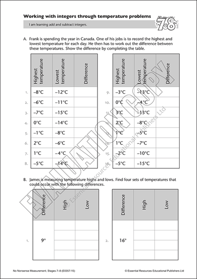 Work with integers through temperature problems Cover