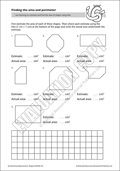 Estimate and find the area of shapes using tiles Cover